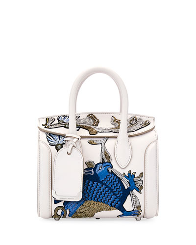 Heroine 21 Mini Matte Calf Embroidered Tote Bag, Off White