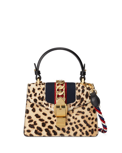 Sylvie Small Calf Hair Top-Handle Bag, Neutral Pattern, Leopard