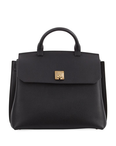 Milla Pebbled Leather Turn-Lock Top-Handle Bag