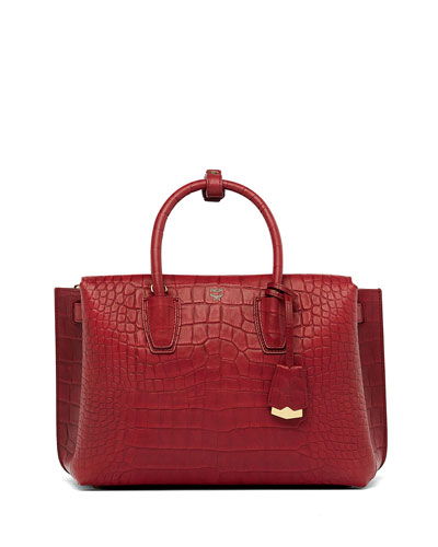 Milla Large Crocodile-Embossed Tote Bag, Ruby Tan