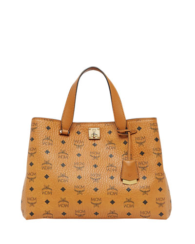 Signature Visetos Logo Satchel Bag
