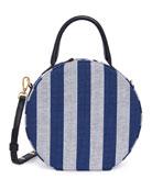 Circle Striped Canvas Crossbody Bag