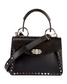 Hava Small Studded Top-Handle Bag, Black