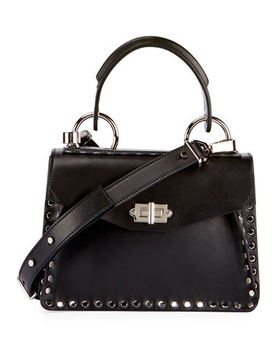 Hava Small Studded Top-Handle Bag, Black