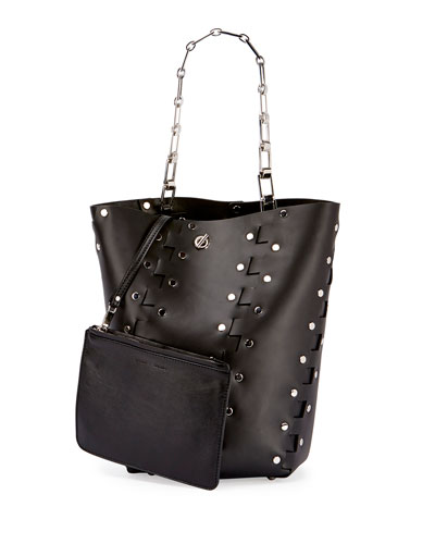 Hex Medium Studded Leather Bucket Bag, Black