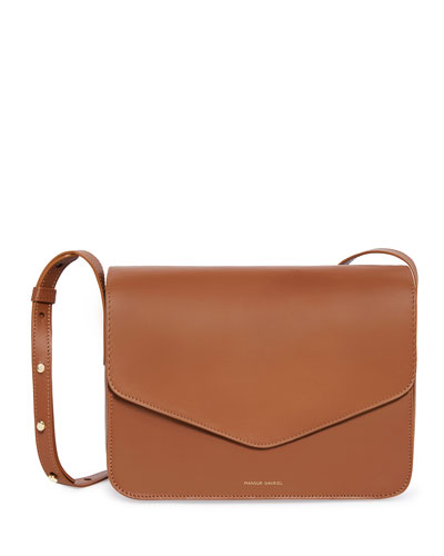 Calf Leather Envelope Crossbody Bag, Brown