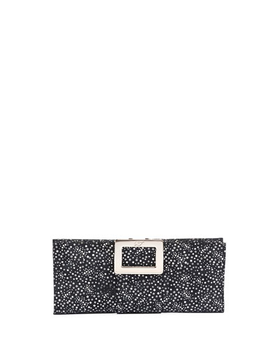 Belle Vivier Suede Clutch Bag, Blue/Silver