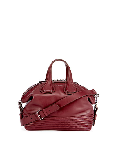 Nightingale Small Leather Biker-Stitch Satchel Bag, Red