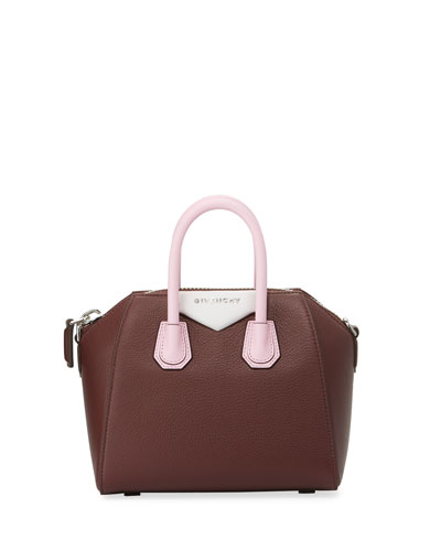 Antigona Tricolor Mini Satchel Bag, Pink