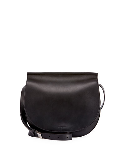 Infinity Chain-Trim Saddle Bag, Black