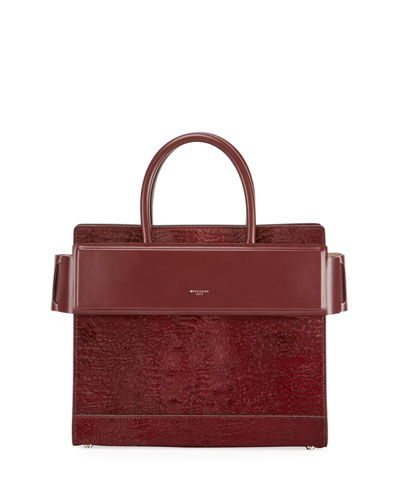 Horizon Small Astrakhan-Embossed Leather Satchel Bag, Red