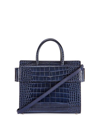 Horizon Mini Alligator Tote Bag, Dark Blue