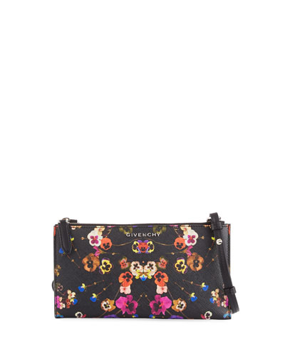 Antigona Pansies Crossbody Pouch Bag