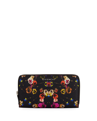 Pansies Coated Canvas Zip Wallet, Multi