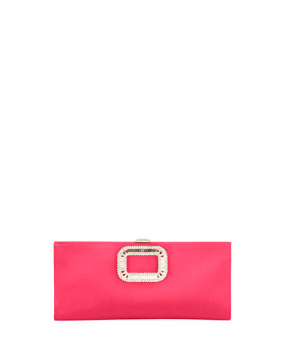 Pilgrim Small Satin Clutch Bag, Strawberry