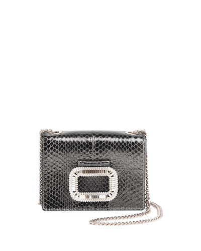 Pilgrim Micro Snakeskin Shoulder Bag, Gray