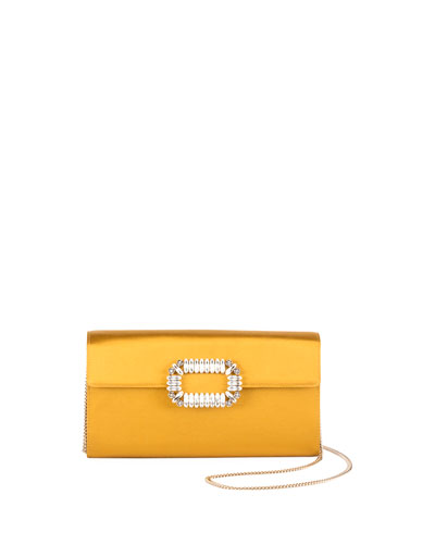 Crystal-Embellished Satin Crossbody Bag, Mustard