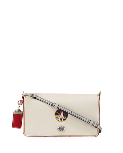 Dinky Rocket Embossed Crossbody Bag, White