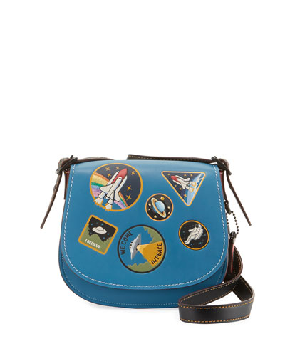 Space Patches Saddle Bag, Blue