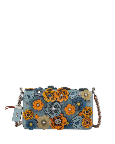 Dinky Tea Rose Crossbody Bag, Blue/Multi