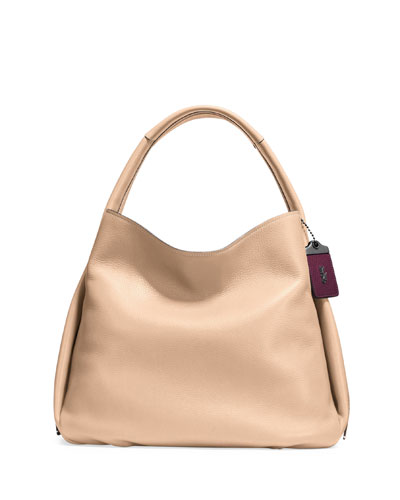 Pebbled Leather Hobo Bag, Tan