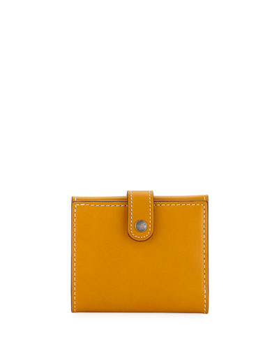 Smooth Trifold Snap Wallet, Gold