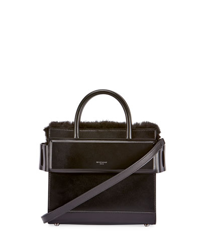 Horizon Mini Fur-Trimmed Tote Bag, Black