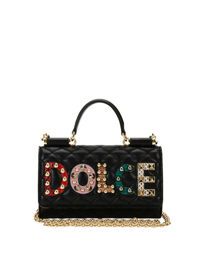 Dolce & Gabbana Miss Sicily Crossbody I Phone Wallet / case, Black