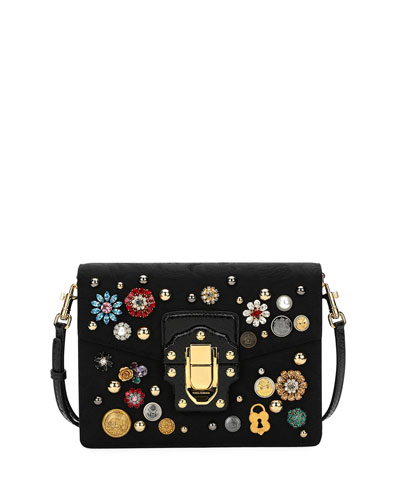 Lucia Embellished Velvet Shoulder Bag