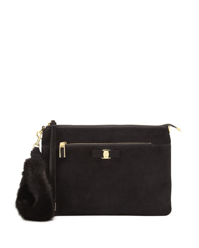 Iris Small Suede Crossbody with Mink Wristlet Strap, Black