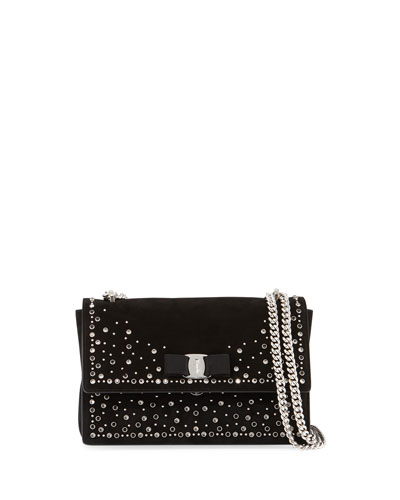 Medium Embellished Suede Shoulder Bag, Black