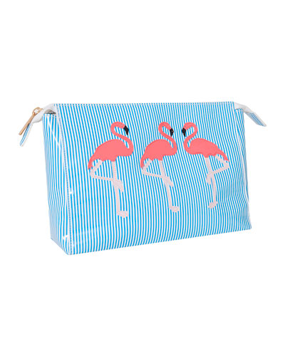 Betty Small Flamingo Cosmetics Bag, Blue/Multi