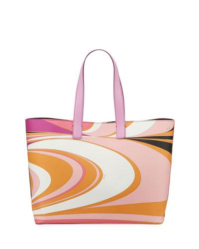 Libellula Printed Tote Bag, Pink Pattern