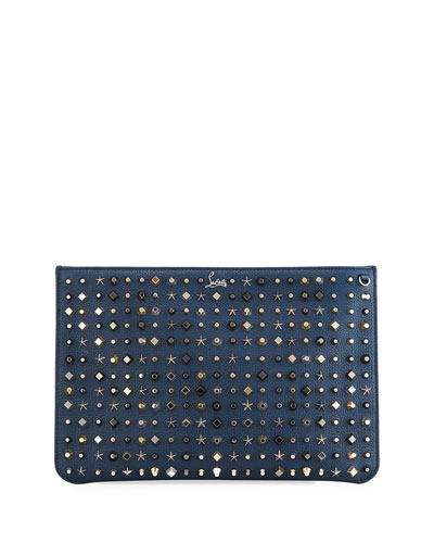 Loubiclutch Empirespikes Mixed-Spike Clutch Bag, Navy