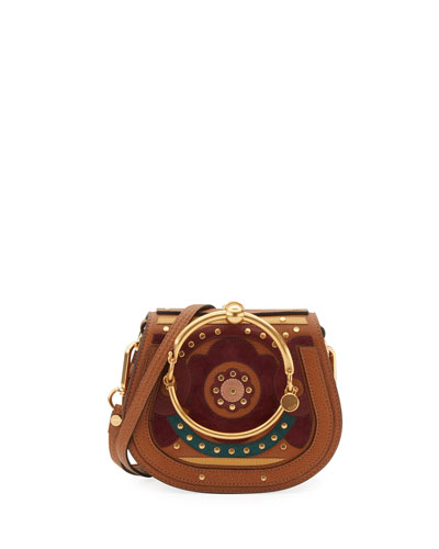 Nile Small Floral Bracelet Bag, Brown