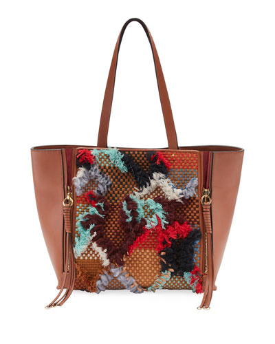 Milo Medium Tapestry Woven Tote Bag, Tan