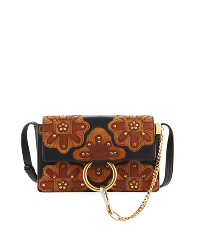Faye Small Patchwork Leather Shoulder Bag, Black