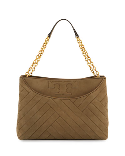 Alexa Quilted Suede Tote Bag, Banana Leaf