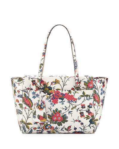 Parker Small Floral-Print Tote Bag