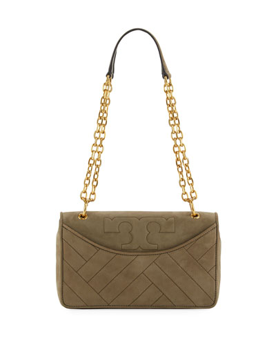 Alexa Quilted Suede Shoulder Bag