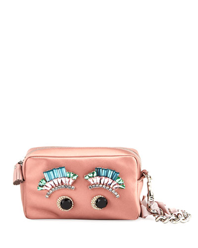 Diamante Eyes Satin Clutch Bag, Blush