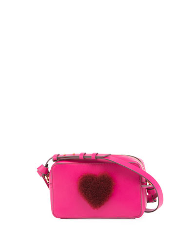 Heart Fur Mini Leather Crossbody Bag, Magenta
