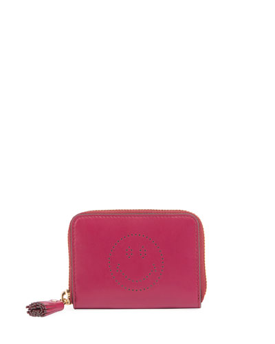 Smiley Small Zip Wallet, Fuchsia
