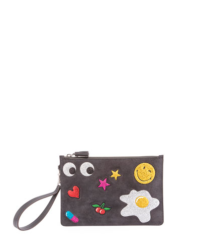 Suede Glitter Sticker Zip Pouch Bag, Charcoal
