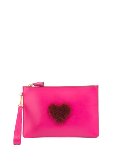 Shearling Heart Zip Wristlet Pouch Bag, Magenta