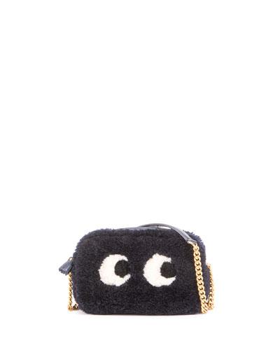 Mini Eyes Shearling Fur Crossbody Bag, Indigo