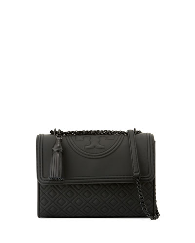 Fleming Matte Rubber Shoulder Bag, Black