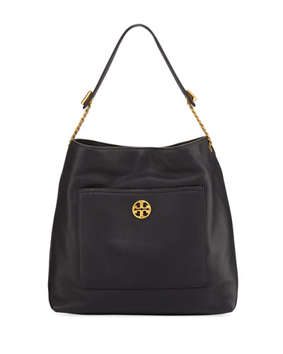 Chelsea Chain Leather Hobo Bag, Black