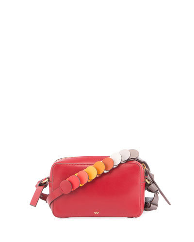 Mini Circle Crossbody Bag, Red/Multi