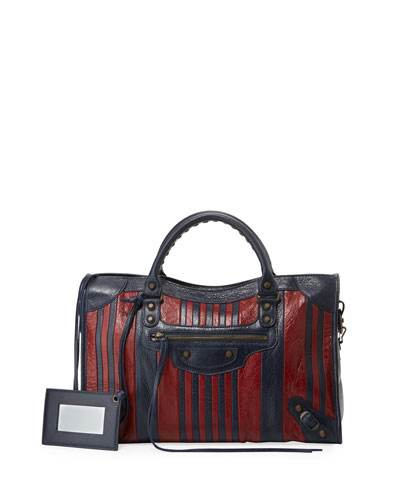 Classic Colorblock Striped Edge City Bag